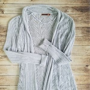 Open front gray cardigan sweater size L